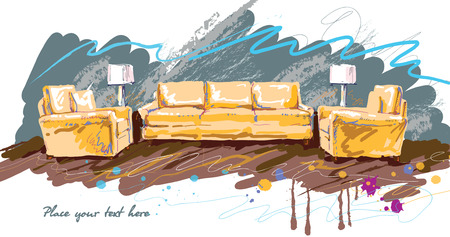 upholstered: Home  hand drawn concept with various home accessories and furniture. Vector illustration.