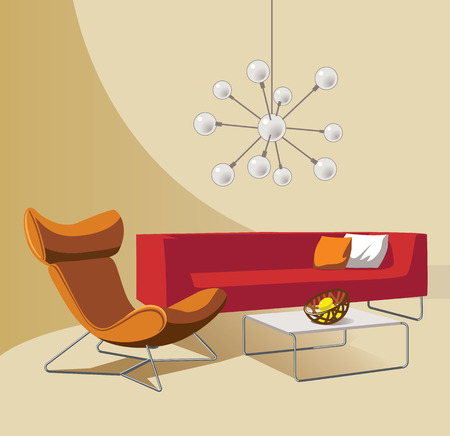 modern apartment: Home  hand drawn concept with various home accessories and furniture. Vector illustration.