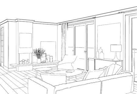 home accessories: Home  hand drawn concept with various home accessories and furniture. Vector illustration.