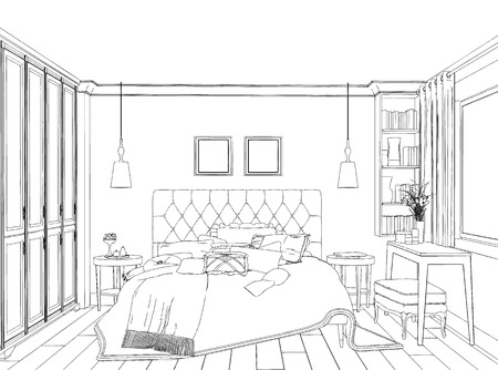 apartment suite: Home  hand drawn concept with various home accessories and furniture. Vector illustration.