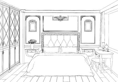 Accueil dessiné à la main notion avec divers accessoires de maison et des meubles. Vector illustration. Banque d'images - 50910206