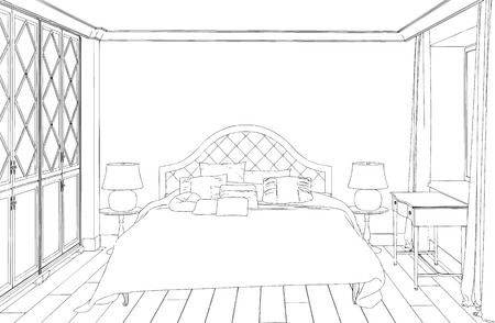 Home Hand Drawn Concept With Various Home Accessories And Furniture Magnificent Bedroom Furniture Accessories Concept