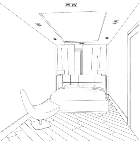 Home Hand Drawn Concept With Various Home Accessories And Furniture New Bedroom Furniture Accessories Concept