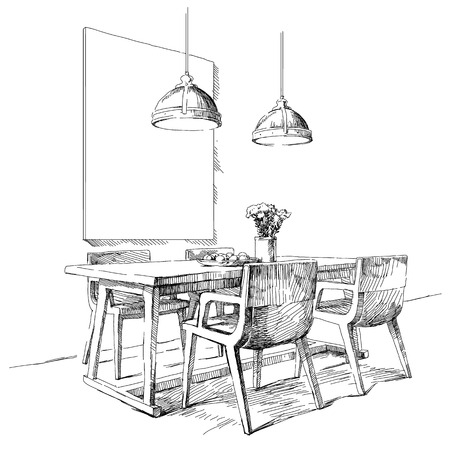 interior design: Contemporary modern interior hand drawing vector illustration.