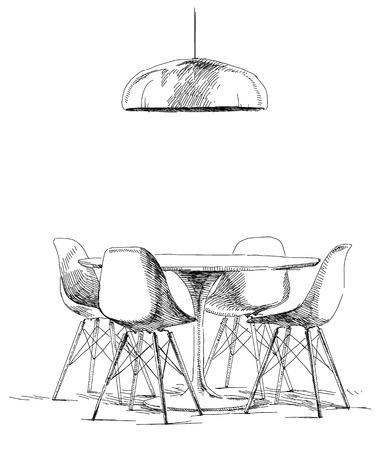 Contemporary modern interior hand drawing vector illustration.