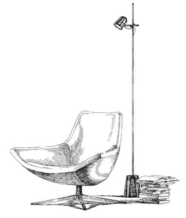 Moderne et contemporain vecteur de dessin illustration de la main intérieure. Banque d'images - 51576405
