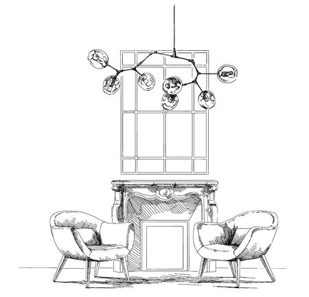 Ilustracja wektora rysunek Współczesne nowoczesne wnętrze dłoni.
