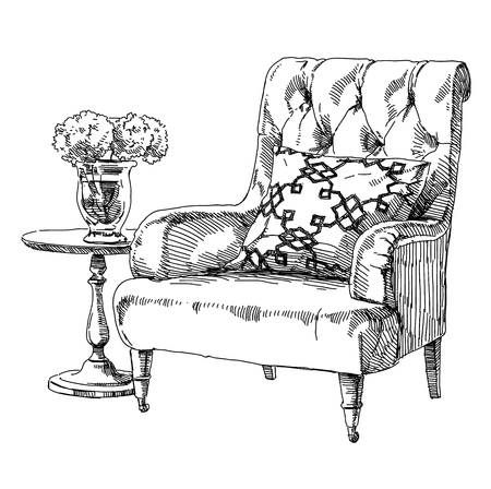 modern interior: Contemporary modern interior hand drawing vector illustration.