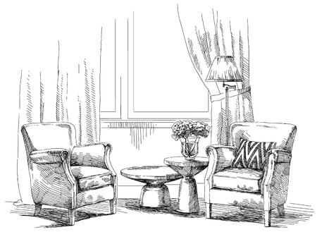modern interior: Contemporary modern interior drawing illustration.