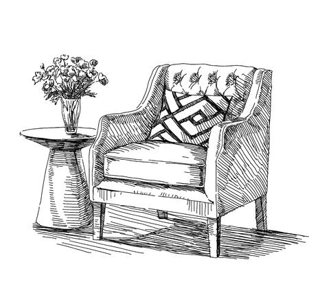 modern interior: Contemporary modern interior illustration.