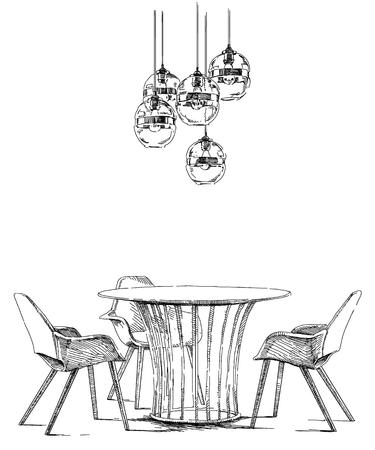 modern interior: Contemporary modern interior Illustration
