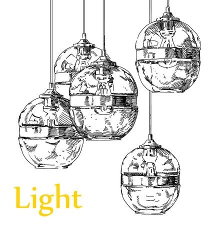 Beauty modern lighting chandelier hand drawing vector. Illustration