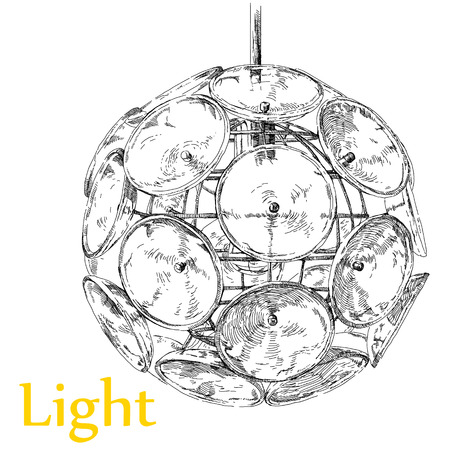 Beauty modern lighting chandelier hand drawing vector. Çizim