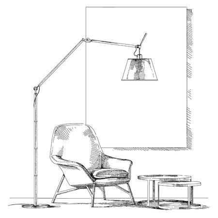 Moderne et contemporain vecteur de dessin illustration de la main intérieure. Banque d'images - 62819760