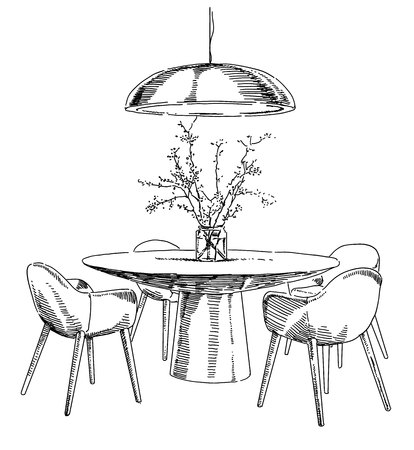 Modern interior hand drawing dining table and chairs wih plant.
