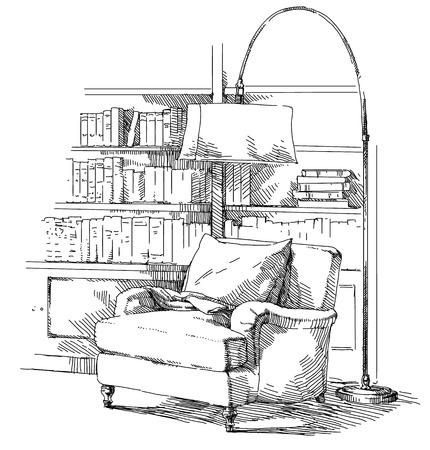 Modern interior hand drawing vector. Çizim