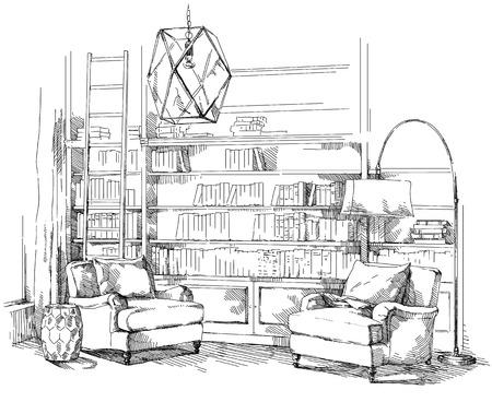 Vecteur de dessin à la main intérieur moderne. Banque d'images - 86633044