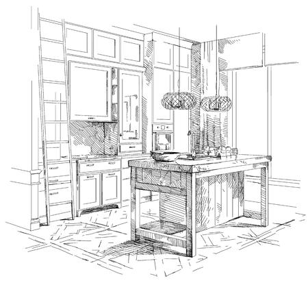 Vecteur de dessin à la main intérieur moderne. Banque d'images - 86958514