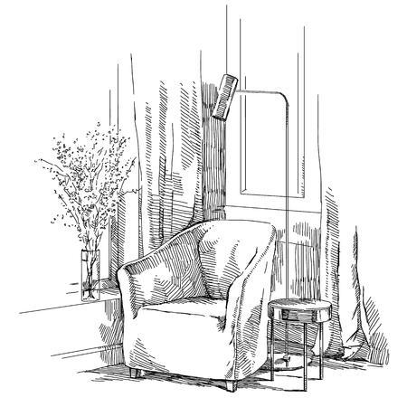 Vecteur de dessin à la main intérieur moderne. Banque d'images - 86958515