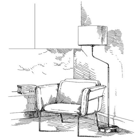 Vecteur de dessin à la main intérieur moderne. Banque d'images - 86958516