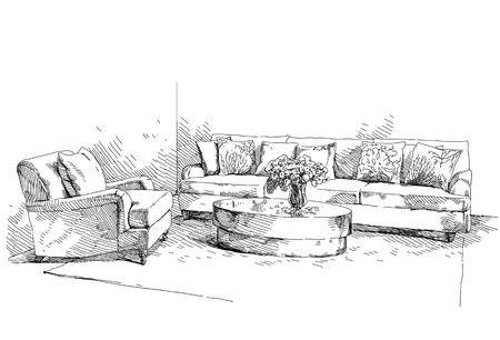 Vecteur de dessin à la main intérieur moderne. Banque d'images - 87336425