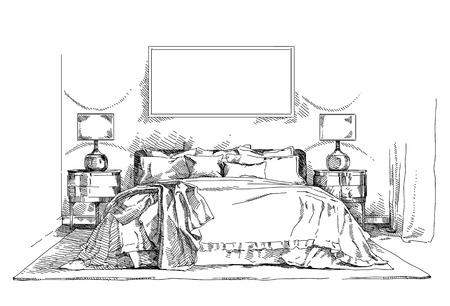 Moderne et contemporain vecteur de dessin illustration de la main intérieure. Banque d'images - 87224420