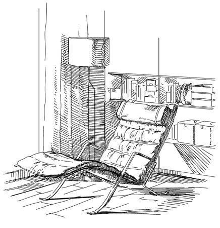 living room sofa: Modern interior hand drawing vector. Illustration