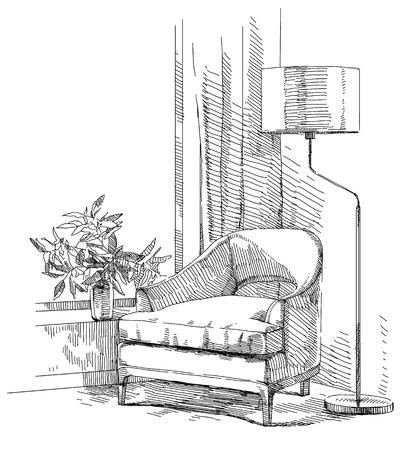 Modern interior hand drawing vector. Иллюстрация
