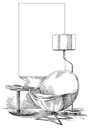 Vecteur de dessin à la main intérieur moderne. Banque d'images - 87224421