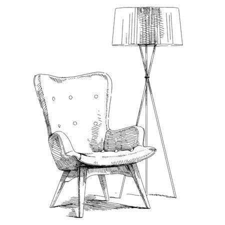 Comfortable modern interior hand drawing vector illustration. Иллюстрация