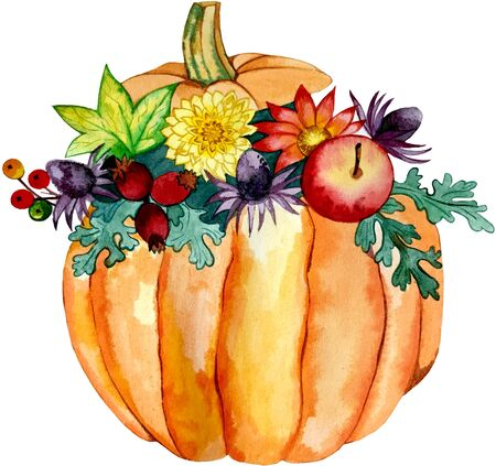 illustration watercolor. autumn floral composition . the flowers in the pumpkin Stock fotó