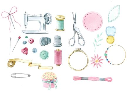 watercolor sewing and embroidery set, sewing machine, scissors, thread, needle, pin, buttons, beads, thimble, hoops Stock Photo