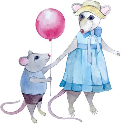 watercolor mice mom and baby c red ball Banco de Imagens
