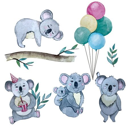 watercolour Koala party set