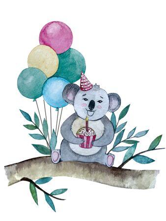 watercolor illustration. postcard birthday Koala