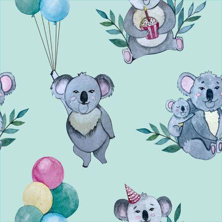 watercolor illustration. pattern birthday Koala