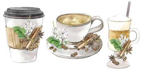 watercolor illustration. set of coffee latte cappuccino glasses
