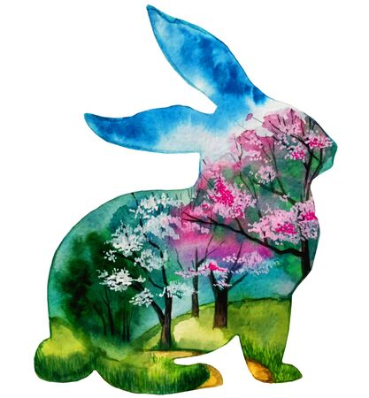 watercolor illustration silhouette of a rabbit or hare. spring landscape in silhouette