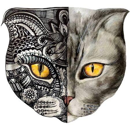 watercolour illustration of a cat face decorative. graphics