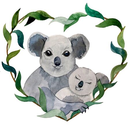watercolor illustration. Koala mom and baby. framed by eucalyptus branches. frame in the shape of a heart Zdjęcie Seryjne