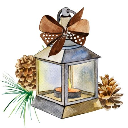 watercolor illustration. Christmas lantern, bow, cone