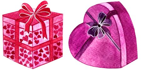 watercolor set gift boxes with bow hearts.