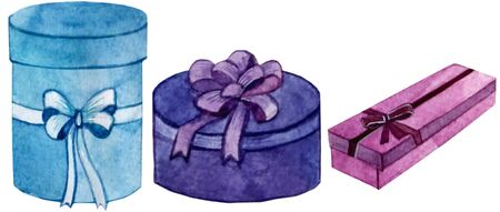 watercolor illustration.set of three gift boxes with bow.an isolated object.