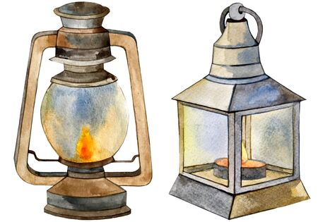 watercolor set of two lamp lantern candlestick. Zdjęcie Seryjne