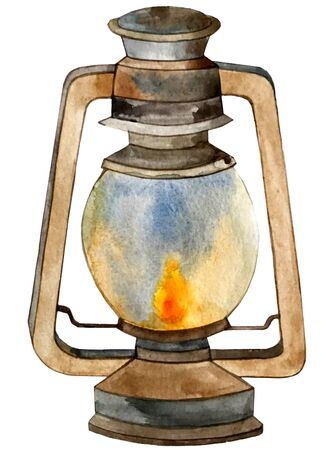 watercolor illustration. lamp lantern lit candle.
