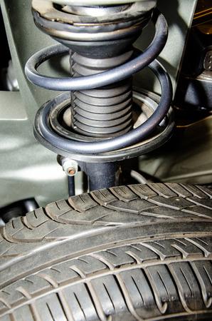 shock absorber: Shock absorber wheel car Stock Photo