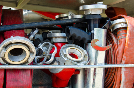 dutch typical: Typical Dutch fire fighting equipment as part of fire truck
