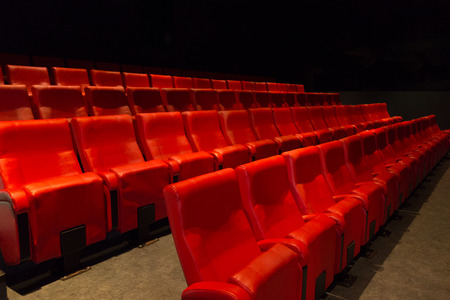 Classical Cinema Chairs In Red Color Stock Photo   46795622