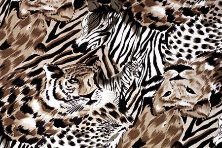 textile design: Fabric with wild animal motif Stock Photo