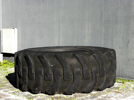 old tire of big tractor Stock Photo